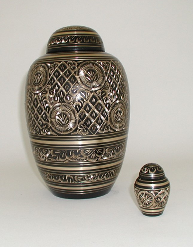 Brass Urn, Gold & Black